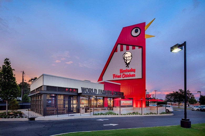 The Big Chicken is a KFC restaurant in Marietta, Georgia, which features a foot-tall (17 m) steel-sided structure designed in the appearance of a chicken rising up from the top of the building. It is located at the city's biggest intersection of Cobb Parkway (U.S. 41/Georgia 3) and Roswell Road (Georgia ) and is a well-known landmark in the area.